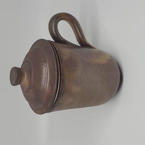 Vintage ceramic tea mug with strainer and lid
